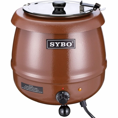 Sybo 10.5 Quart Electric Soup Warmer Commercial Crock Pot with Hinged Lid, Brown Perspective: front