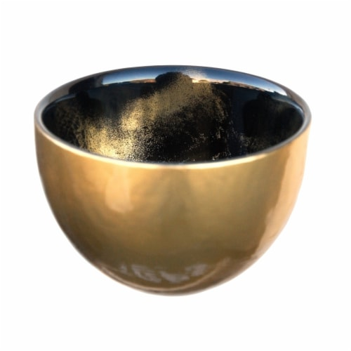 Red Pomegranate 6677-2 Thassos Condiment Bowls, Black & Gold - Set of 4 Perspective: front