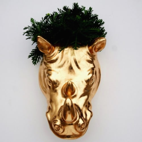 Spazio Rhino Gilded Wall Planter, Gold Perspective: front
