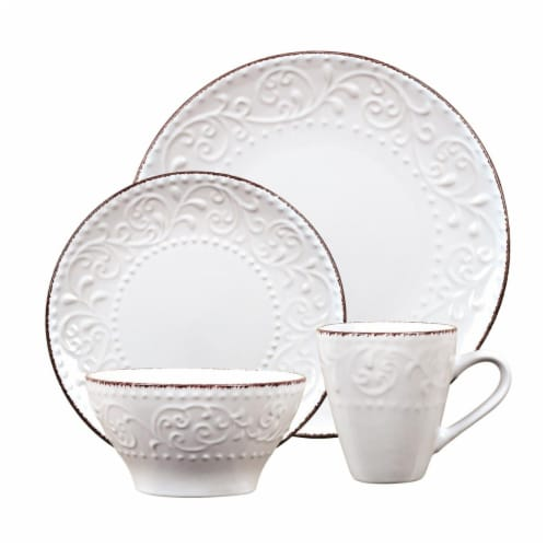 Lorren Home Trends LH524 16 Piece Stoneware Scroll Dinnerware Set, White Perspective: front