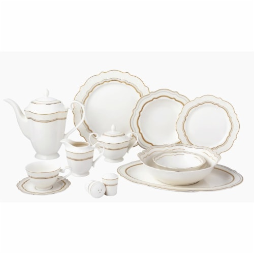 Lorren Home Trends Charlotte 57 Piece Bone China Charlotte Dinnerware Set, Service for 8 Perspective: front