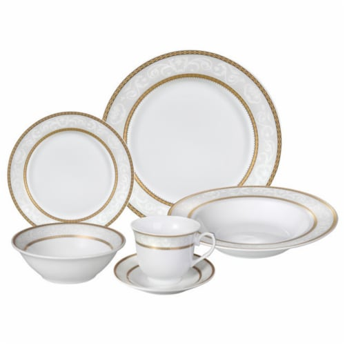 Porcelain  Dinnerware Set, 24 Piece Service for 4 by Lorren Home Trends: Amelia Design Perspective: front