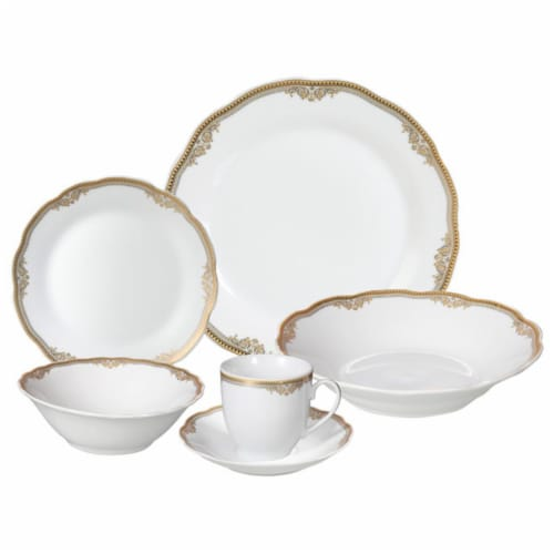 Porcelain Wavy Edge Dinnerware Set, 24 Piece Service for 4 by Lorren Home Trends: Catherine Perspective: front