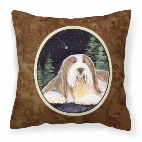 Starry Night Bearded Collie Decorative   Canvas Fabric Pillow Perspective: front