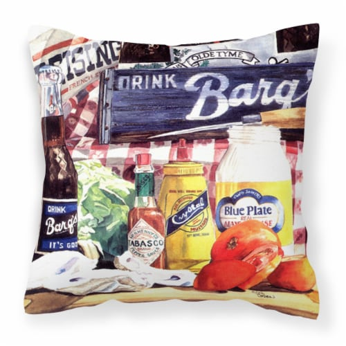 Blue Plate Mayonaise, Barq's a tomato sandwich Canvas Fabric Decorative Pillow Perspective: front