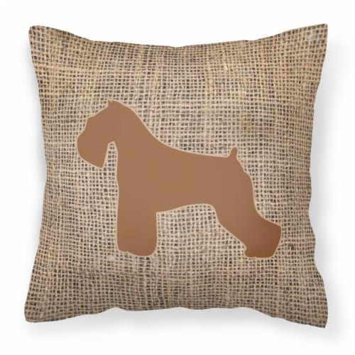 Schnauzer Burlap and Brown   Canvas Fabric Decorative Pillow BB1073 Perspective: front