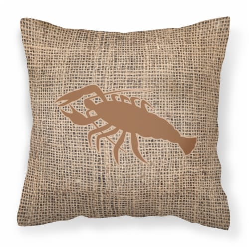 Lobster Burlap and Brown   Canvas Fabric Decorative Pillow BB1028 Perspective: front
