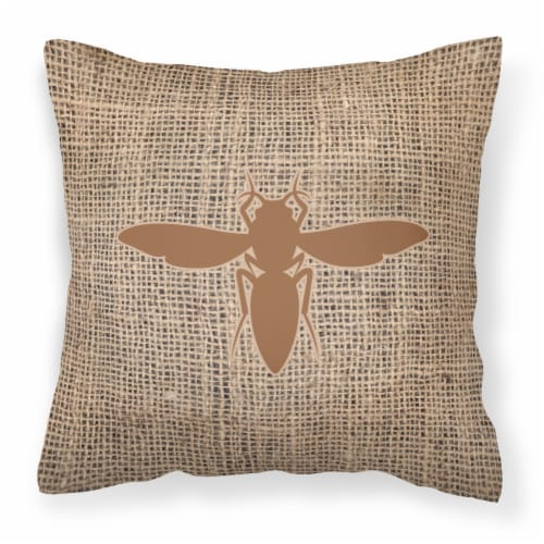 Yellow Jacket Burlap and Brown   Canvas Fabric Decorative Pillow BB1053 Perspective: front