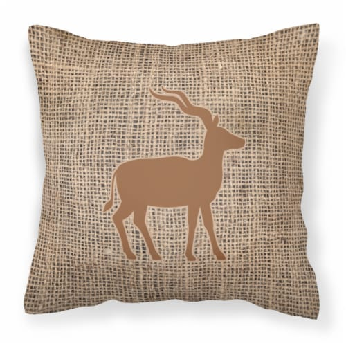Deer Burlap and Brown   Canvas Fabric Decorative Pillow BB1121 Perspective: front