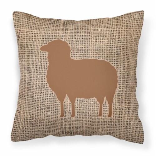 Sheep Burlap and Brown   Canvas Fabric Decorative Pillow BB1126 Perspective: front
