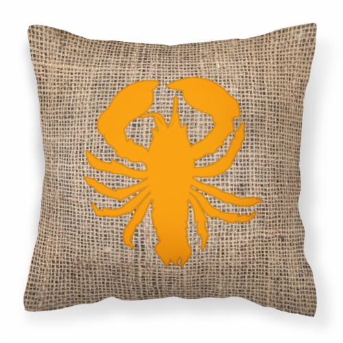 Lobster Burlap and Orange   Canvas Fabric Decorative Pillow BB1015 Perspective: front