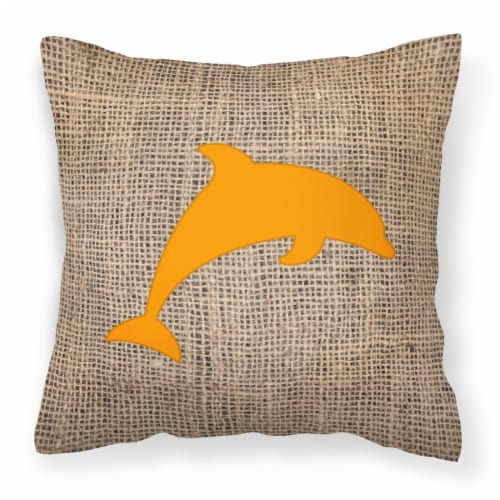 Dolphin Burlap and Orange   Canvas Fabric Decorative Pillow BB1025 Perspective: front