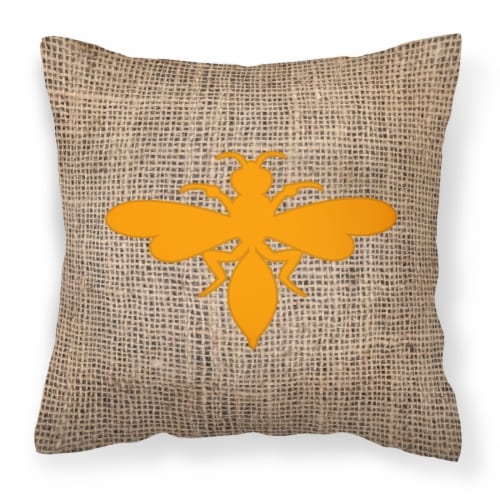 Wasp Burlap and Orange   Canvas Fabric Decorative Pillow BB1054 Perspective: front
