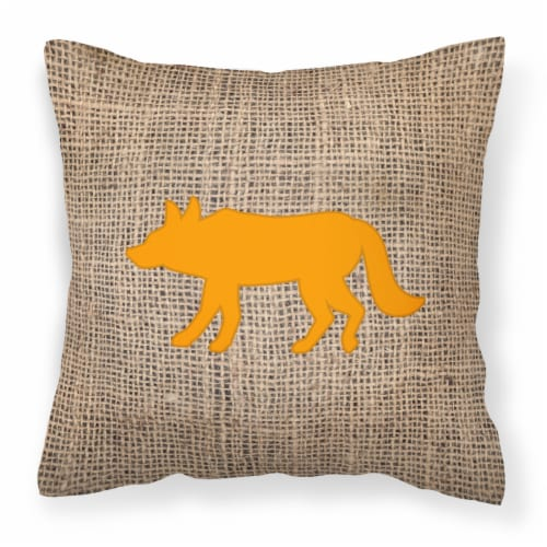 Wolf Burlap and Orange   Canvas Fabric Decorative Pillow BB1123 Perspective: front