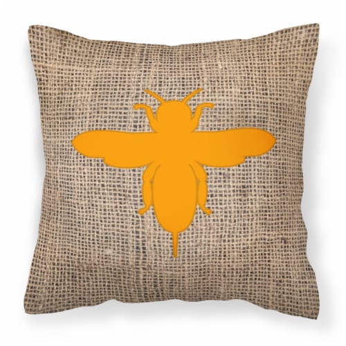 Bee Burlap and Orange   Canvas Fabric Decorative Pillow BB1057 Perspective: front