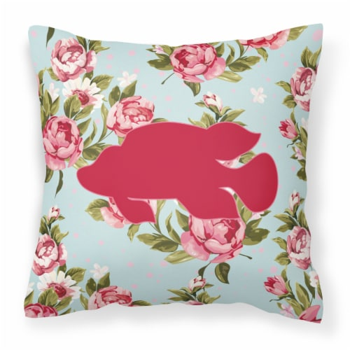 Fish - Tropical Fish Shabby Chic Blue Roses Canvas Fabric Decorative Pillow Perspective: front