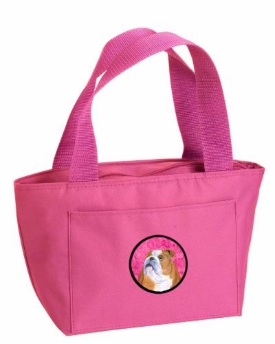 Carolines Treasures  SS4767-PK-8808 Pink Bulldog English  Lunch Bag or Doggie Ba Perspective: front