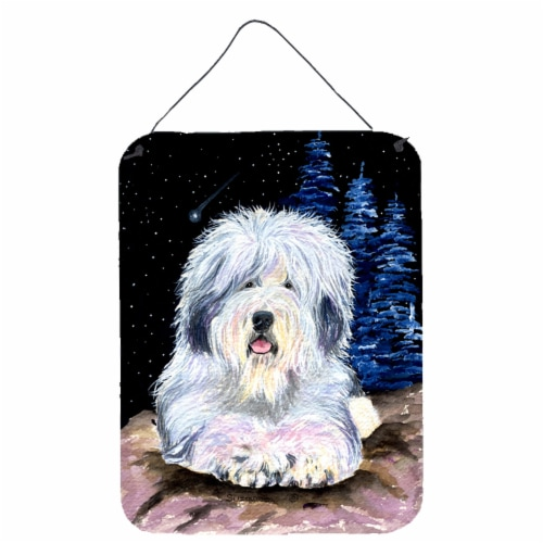 Starry Night Old English Sheepdog Aluminium Metal Wall or Door Hanging Prints Perspective: front