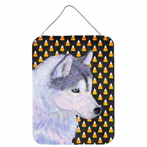 Siberian Husky Candy Corn Halloween Portrait Wall or Door Hanging Prints Perspective: front