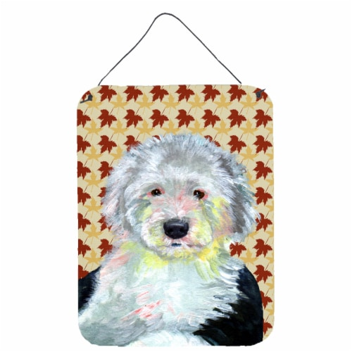 Old English Sheepdog Fall Leaves Portrait Wall or Door Hanging Prints Perspective: front