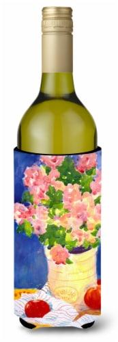 Pink Bouquet of Flowers Wine Bottle Beverage Insulator Beverage Insulator Hugger Perspective: front