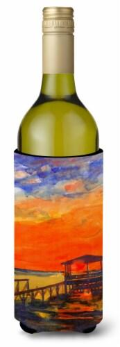 Sunset at the Dock Wine Bottle Beverage Insulator Beverage Insulator Hugger Perspective: front