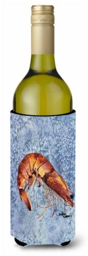 Cooked Shrimp Cool Blue Water Wine Bottle Beverage Insulator Beverage Insulator Perspective: front
