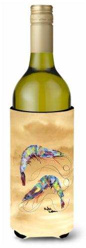 Shrimp  Sandy Beach Wine Bottle Beverage Insulator Beverage Insulator Hugger Perspective: front