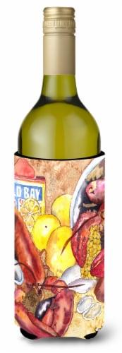 Lobster  Lobster Bake with Old Bay Seasonings Wine Bottle Beverage Insulator Bev Perspective: front
