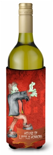 Little House of Horrors with Frankenstein Halloween Wine Bottle Beverage Insulat Perspective: front