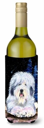 Starry Night Old English Sheepdog Wine Bottle Beverage Insulator Beverage Insula Perspective: front