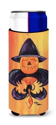 Halloween Pumpkin and Bat Fleur de lis Ultra Beverage Insulators for slim cans Perspective: front