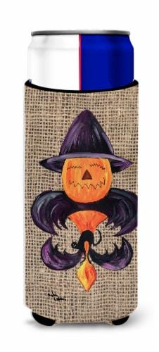 Halloween Pumpkin and Bat Fleur de lis on Faux Burlap Ultra Beverage Insulators Perspective: front