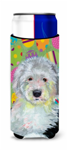 Old English Sheepdog Easter Eggtravaganza Ultra Beverage Insulators for slim can Perspective: front