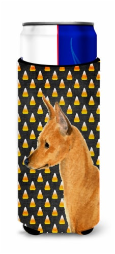 Min Pin Candy Corn Halloween Portrait Ultra Beverage Insulators for slim cans Perspective: front