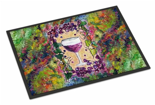 Red Wine Glass and grapes Indoor or Outdoor Mat 18x27 Perspective: front
