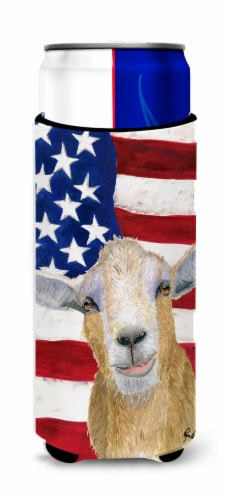 USA American Goat Ultra Beverage Insulators for slim cans Perspective: front