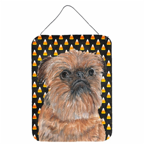 Brussels Griffon Halloween Candy Corn Wall or Door Hanging Prints Perspective: front