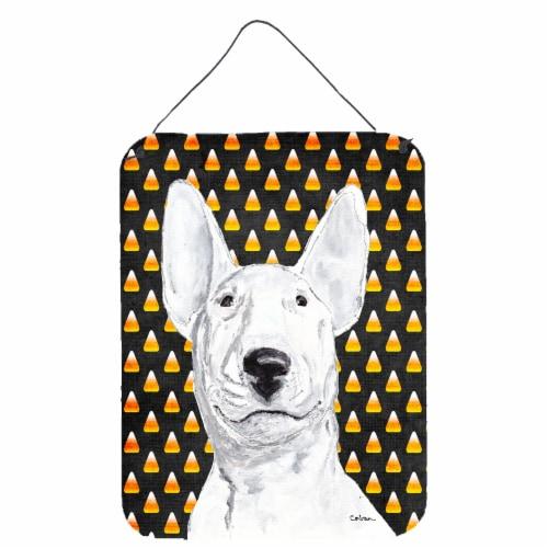 Bull Terrier Halloween Candy Corn Aluminium Metal Wall or Door Hanging Prints Perspective: front