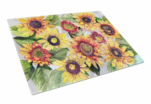 Carolines Treasures  8766LCB Sunflowers Glass Cutting Board Large Perspective: front