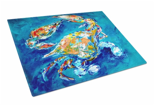 Carolines Treasures  MW1153LCB By Chance Crab Glass Cutting Board Large Perspective: front