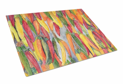 Carolines Treasures  8893LCB Hot Peppers Glass Cutting Board Large Perspective: front