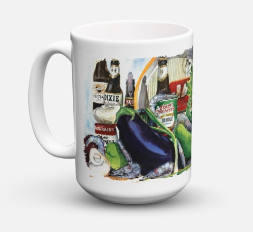 Eggplant and New Orleans Beers  Dishwasher Safe Microwavable Ceramic Coffee Mug Perspective: front