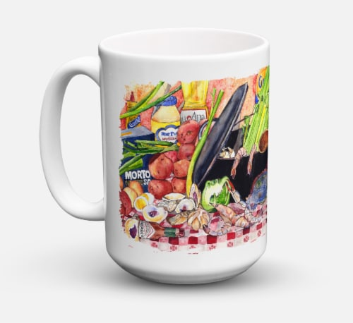 Gumbo and Potato Salad Dishwasher Safe Microwavable Ceramic Coffee Mug 15 ounce Perspective: front