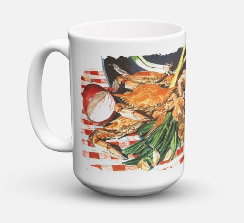 Crab Boil Dishwasher Safe Microwavable Ceramic Coffee Mug 15 ounce Perspective: front