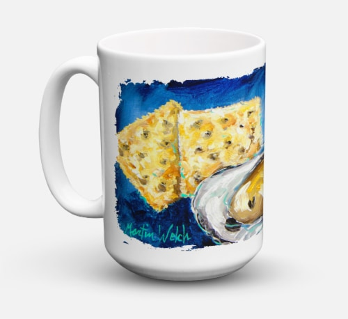 Oysters Two Crackers Dishwasher Safe Microwavable Ceramic Coffee Mug 15 ounce Perspective: front