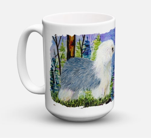 Old English Sheepdog Dishwasher Safe Microwavable Ceramic Coffee Mug 15 ounce Perspective: front