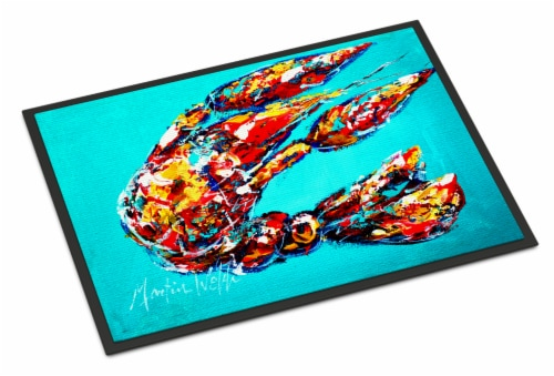Lucy the Crawfish in blue Indoor or Outdoor Mat 24x36 Perspective: front