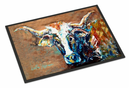 On the Loose Brown Cow Indoor or Outdoor Mat 18x27 Perspective: front