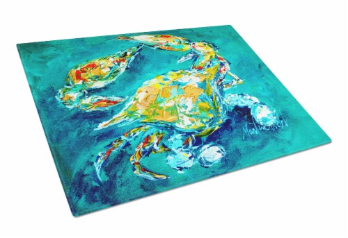 By Chance Crab in Aqua blue Glass Cutting Board Large Size Perspective: front